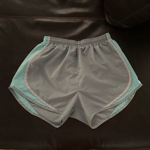 Nike dri-fit running gray and blue athletic shorts